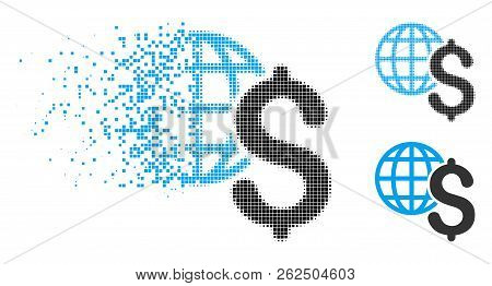 Global Economics Icon In Disappearing, Pixelated Halftone And Undamaged Entire Versions. Cells Are C