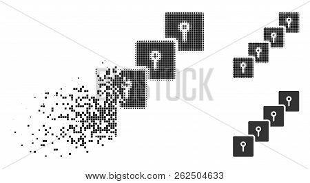 Locker Blockchain Icon In Dispersed, Dotted Halftone And Undamaged Whole Variants. Pieces Are Combin