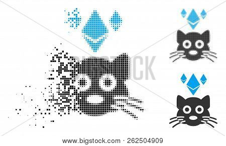 Ethereum Crypto Kitty Icon In Disappearing, Dotted Halftone And Undamaged Solid Versions. Points Are