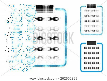 Blockchain List Page Icon In Dissolved, Pixelated Halftone And Undamaged Solid Versions. Particles A