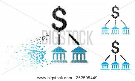 Bank Organization Icon In Dissolving, Pixelated Halftone And Undamaged Whole Versions. Particles Are