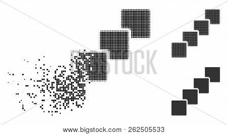 Blockchain Icon In Dispersed, Dotted Halftone And Undamaged Entire Versions. Elements Are Organized