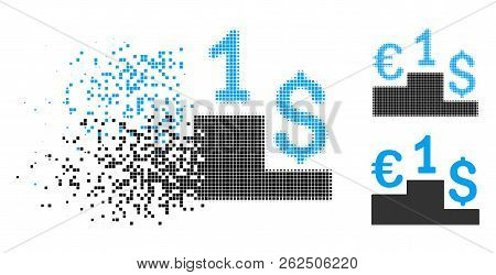 Euro Dollar Competition Icon In Disappearing, Dotted Halftone And Undamaged Entire Versions. Element