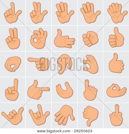 Human Hands Clip Art, Large Set of vector icon of People Gestures