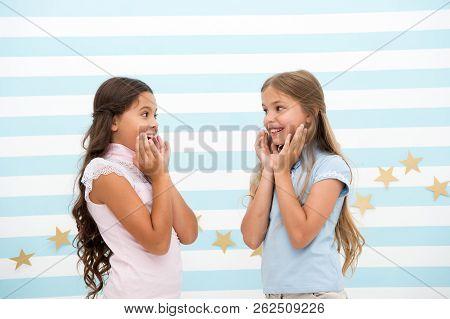 Amazing Surprising News. Girls Excited Expression. Girls Kids Just Heard Amazing News. Surprised Chi