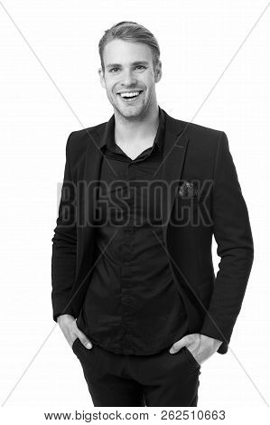 Business Dress Code. Man Happy Formal Black Suit White Background. Business Casual. Casual Look Made