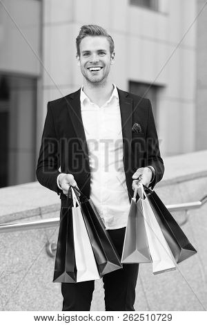 Man Stylist Professional Shopper. Clothes Courier. Stylist Buy Fashionable Clothes Client. Shopping