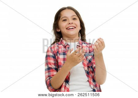 Childhood And Happiness Concept. Kid With Cheerful Face And Brilliant Smile Isolated On White. Emoti