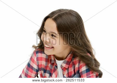 Kid With Cheerful Face And Brilliant Smile Isolated On White. Emotions Concept. Sincere Emotional Ch
