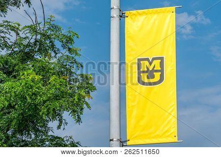 University Flag And Logo At The University Of Missouri