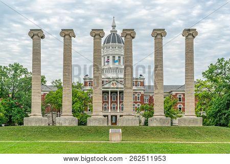 Lonic Columns And Jesse Hall At The University Of Missouri