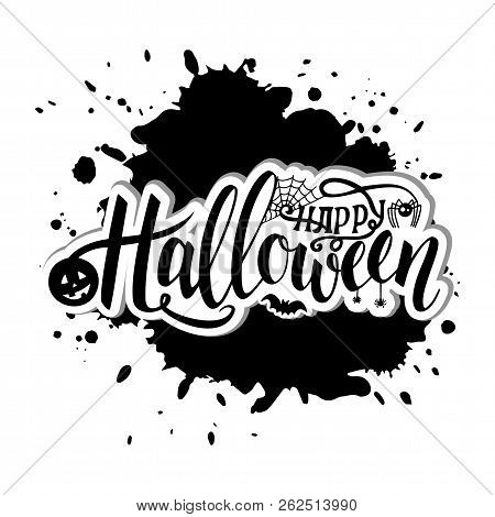 Vector Illustration For Halloween. Happy Halloween Text Banner. Poster For Halloween On Black Backgr