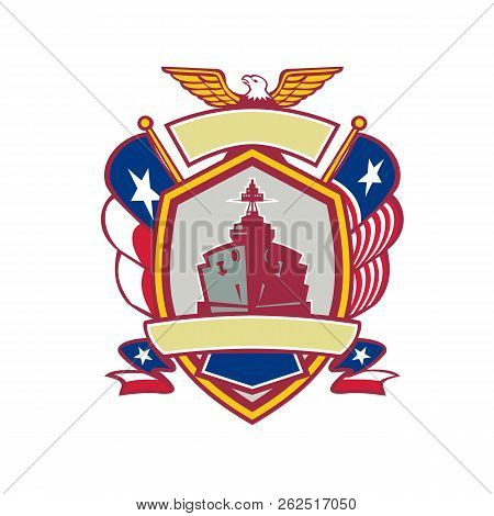 Icon Retro Style Illustration Of A Battleship Or Warship With American Eagle And Texas Lone Star Fla