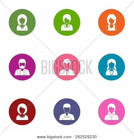 Coiffure Icons Set. Flat Set Of 9 Coiffure Vector Icons For Web Isolated On White Background