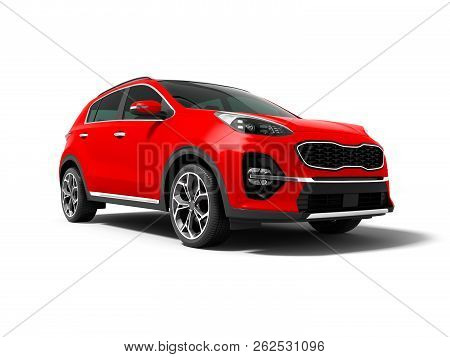 Modern Red New Car Crossover For Trips Isolated Front View 3d Render On White Background With Shadow