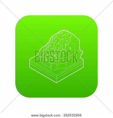 Rockfall Icon Green Vector Isolated On White Background