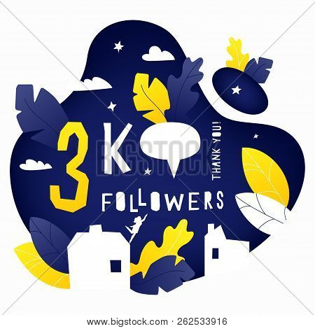 Vector Illustration Of 3k Subscribers Celebration Banner With House, Leaves And Woman Silhouettes. H