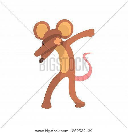 Funny Mouse Standing In Dub Dancing Pose, Cute Cartoon Animal Doing Dubbing Vector Illustration On A