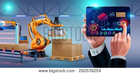 Automation Of Warehouse On Smart Factory, The Robotic Arm Loading Boxes On Pallets. The Application