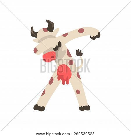 Spotted Cow Standing In Dub Dancing Pose, Cute Cartoon Animal Doing Dubbing Vector Illustration On A