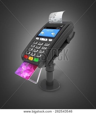 Card Payment Terminal Pos Terminal With Credit Card And Receipt Isolated On Black Gradient  Backgrou