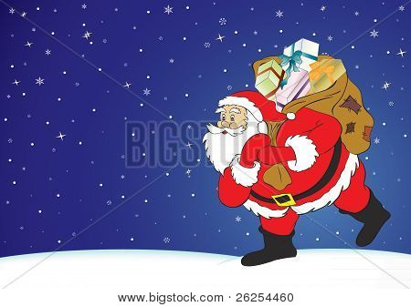 Christmas night, Santa Claus with presents