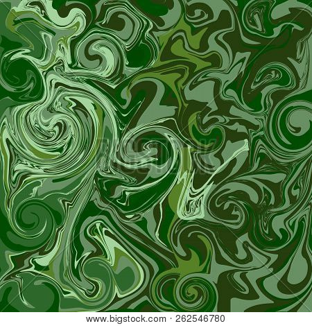 Abstract Pattern Of Green Lines And Shapes For Background. Mineral Malachite. Vector Illustration.