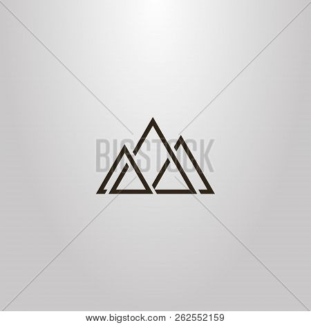 Black And White Simple Vector Geometric Sign Of Triangular Abstract Peaks Of Three Mountains