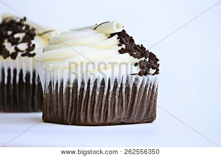 Pretty Chocolate Flavored Cupcake With Buttercream Icing. Decorated With White Chocolate Curls And D