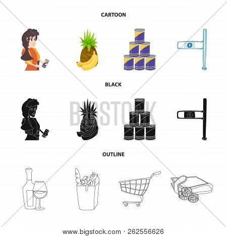 Vector Design Of Food And Drink Symbol. Collection Of Food And Store Vector Icon For Stock.