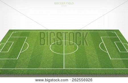 Soccer Football Field On White Background. With Perspective Views Pattern And Texture Of Green Grass