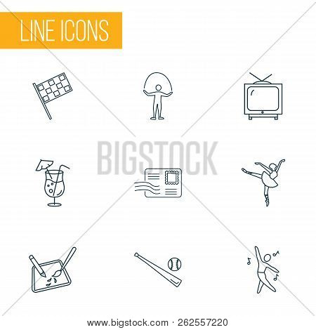 Hobby Icons Line Style Set With Racing Flags, Baseball, Dancing And Other Television Elements. Isola