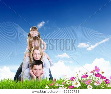 happy family spending time together outdoors. Collage. poster