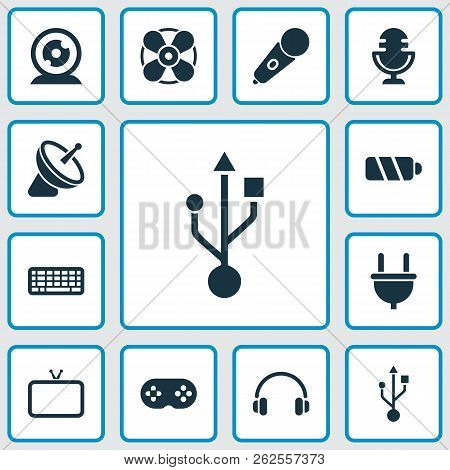 Electronics Icons Set With Battery, Fan, Usb And Other Ventilation Elements. Isolated Vector Illustr