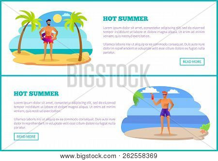 Hot Summer Web Posters Tropical Beach And Athletic Sportsmen At Summertime. Males In Sunglasses, Lif