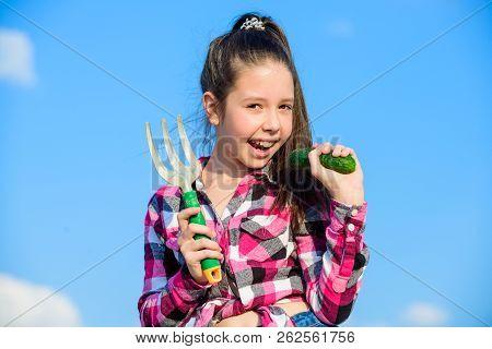 Girl Gardener With Hand Rake. Gardening And Harvesting Concept. Gardening Activity. Little Girl Gard
