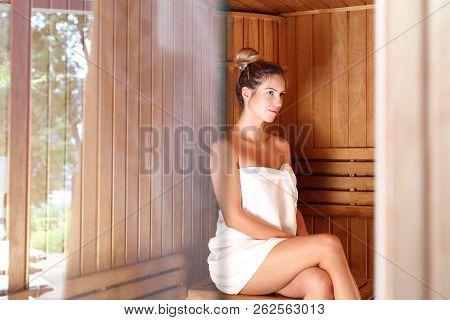 Woman In The Sauna. Beautiful Woman In The Sauna.