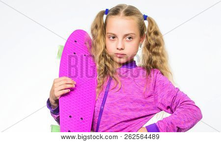 Kid Long Hair Carry Penny Board. Plastic Skateboards For Everyday Skater. Child Hold Penny Board. Pe