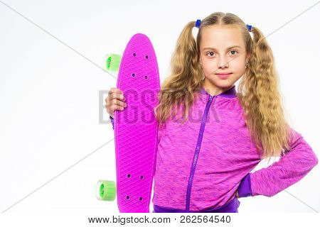 Ultimate Gift List Help Pick Perfect Present For Girl. Child Hold Penny Board. Kid Long Hair Carry P