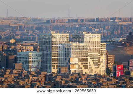 Cairo, Egypt - July 27 2018: Modern Architecture Building Of Egyptian Ministry Of Finance Before Sun