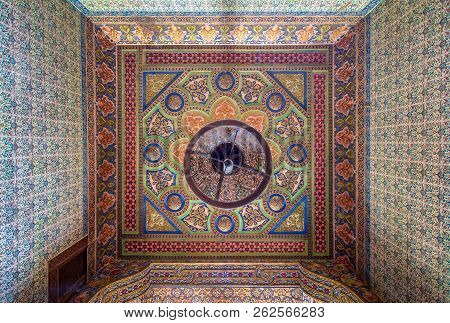 Cairo, Egypt - August 26 2018: Royal Era Colorful Engraved Wooden Ceiling With Floral Pattern Decora