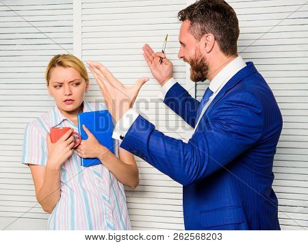 Prejudice And Personal Attitude To Employee. Tense Conversation Or Quarrel Between Colleagues. Boss