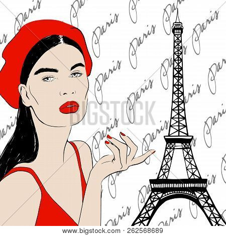 Fashion Portrait Beautiful Young Brunette Woman With Red Beret, Red Lips, Sketch Style Design. Hand