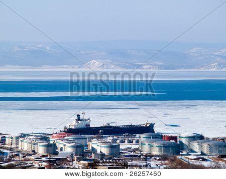 oil tanker at russian petroleum port Vladivostok