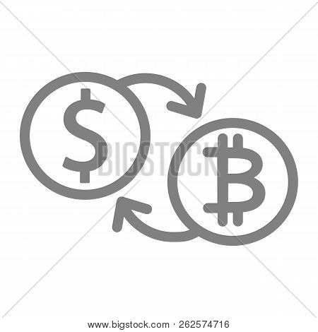 Bitcoin To Dollar Exchange Line Icon. Bitcoin And Dollar Coins Vector Illustration Isolated On White