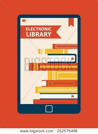 Electronic Library Device Vector Illustration Of Isolated On Red Background Ebook With Set Of Differ