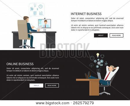 Internet And Online Business Web Pages Set With Text Sample, Businessman Communicating Via Skype Usi