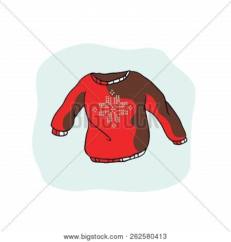Nordic Christmas Jumper Vector Clipart. Hand Drawn Embroidered Snow Ugly Sweater