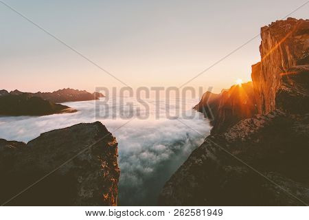 Sunset Landscape Rocky Mountains Over Clouds Landscape Aerial View In Norway Travel Scenery Senja Is