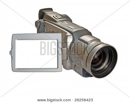 digital camcorder isolated on white with empty copyspace on the screen ready for your picture